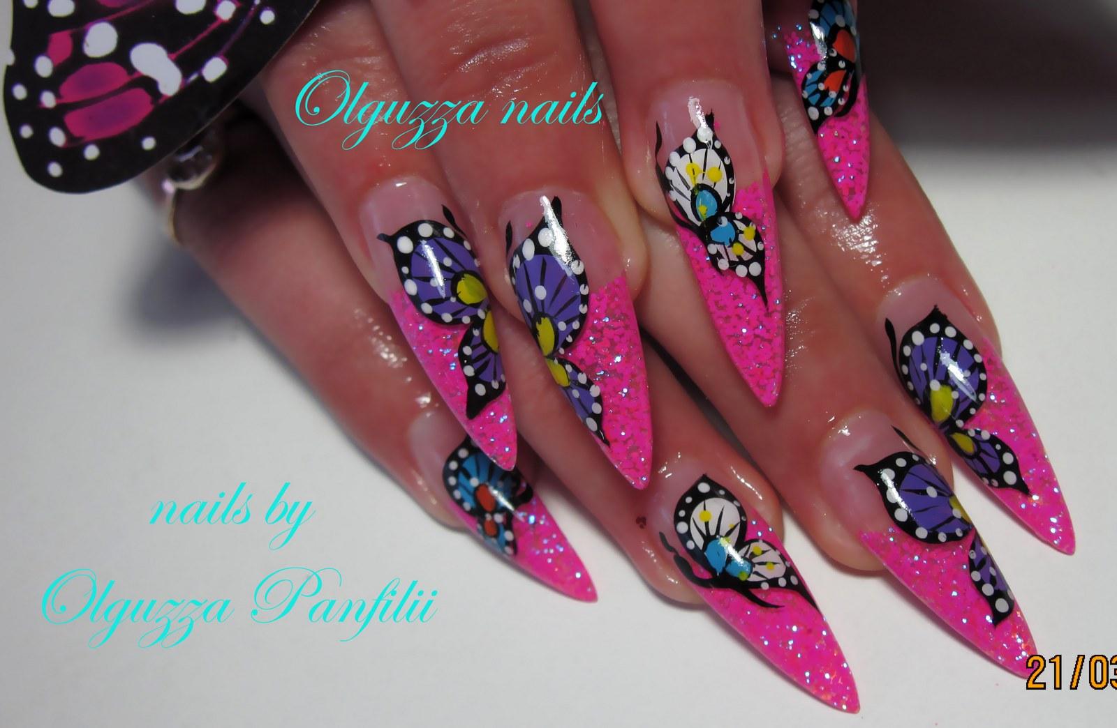 Красивые рисунки на длинных ногтях